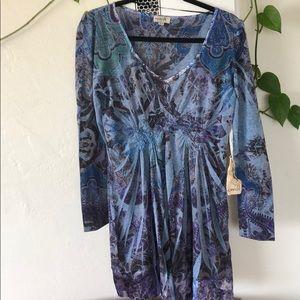 Funky paisley dress with satin trim
